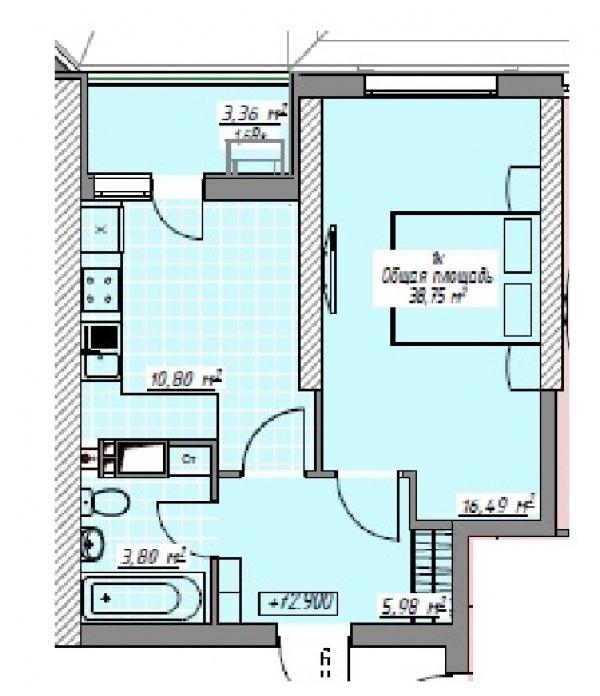 Планировки однокомнатных квартир 38.75 м^2